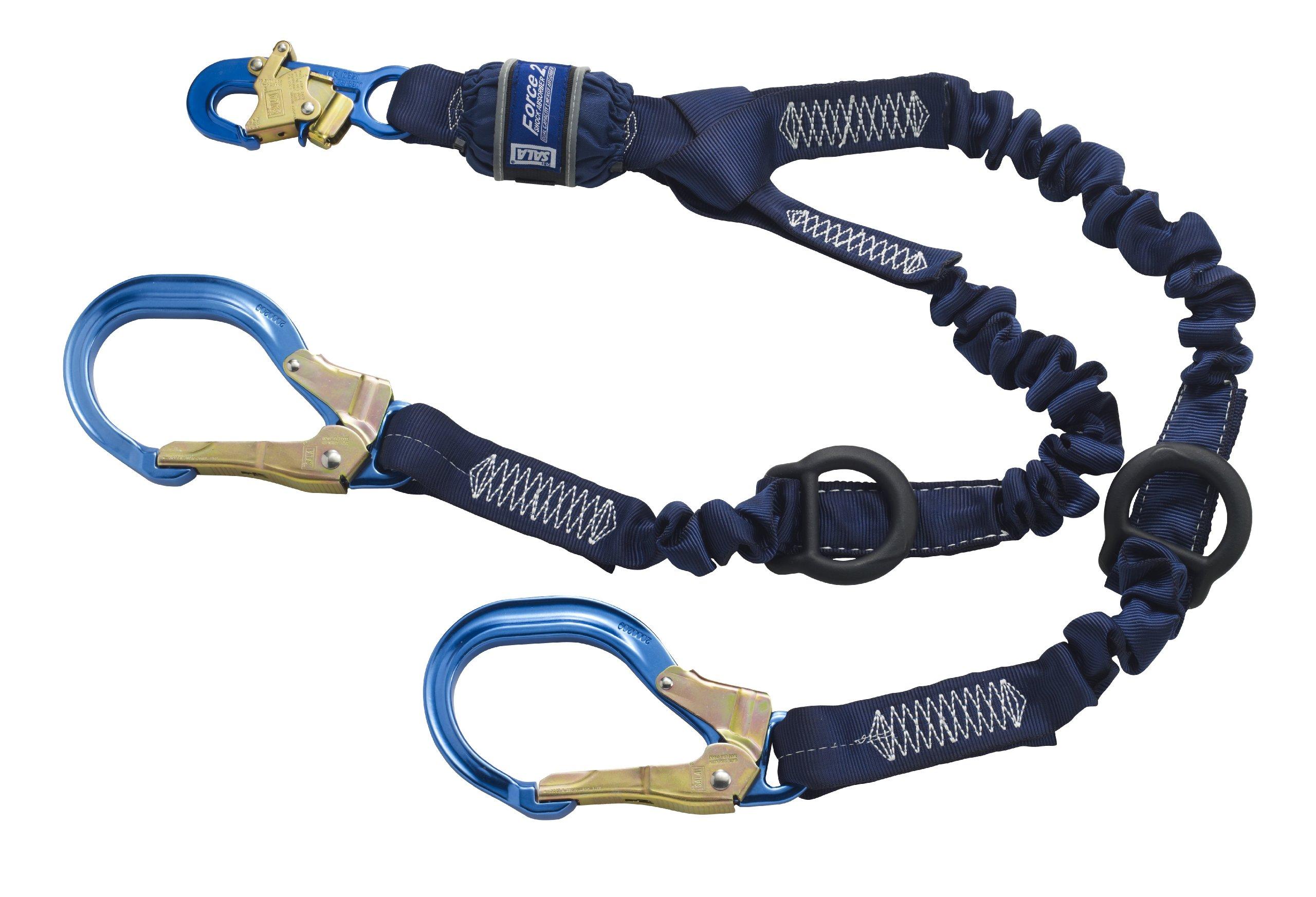 3M DBI-SALA SHOCKWAVE Force2 1246032 Shock Absorbing Lanyard, Snap Hook One End, Alum Rebar 25'' Opening Hooks Leg Ends, Rescue D-Rings Ends, 6