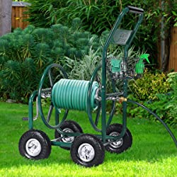 Best 4 Wheel Heavy Duty - Giantex Garden Hose Reel Cart 4-Wheel