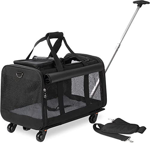 Kundu Pet Carrier with Detachable Wheels for Small Medium Dogs Cats – Black