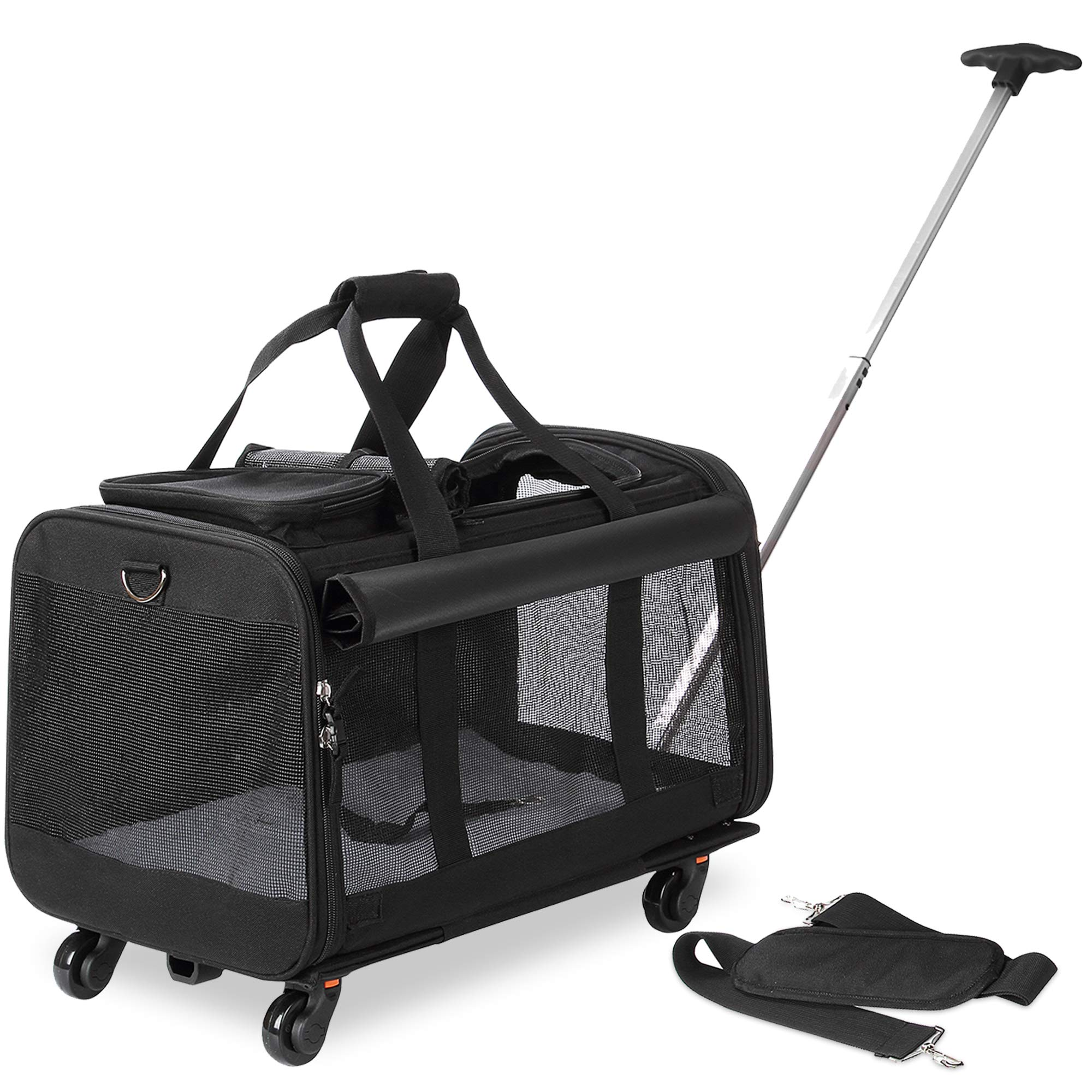 Kundu Pet Carrier with Detachable Wheels for Small & Medium Dogs & Cats - Black by Kundu