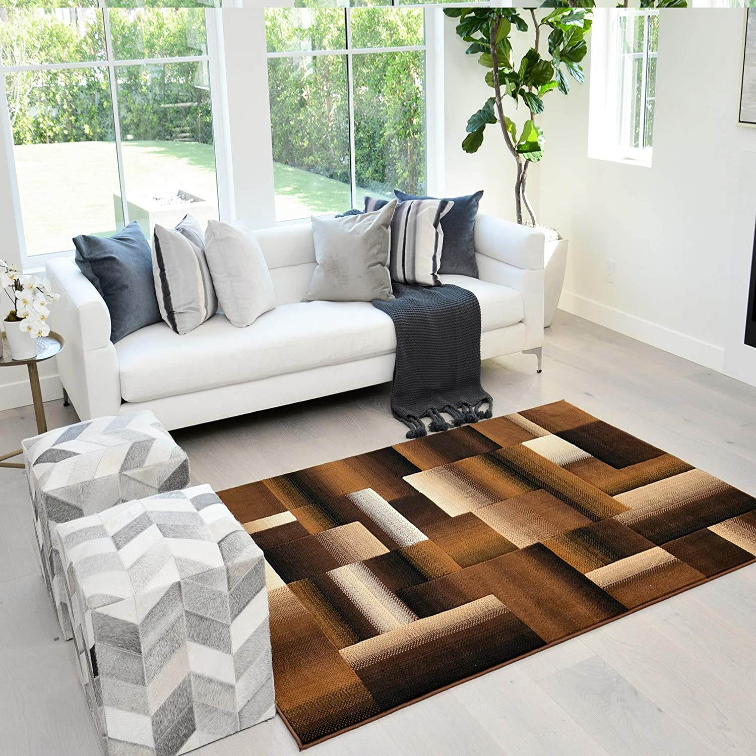 Amazon Com Handcraft Rugs Chocolate Brown Beige Gold Abstract Geometric Modern Squares Pattern Area Rug 8 Ft By 10 Ft Kitchen Dining