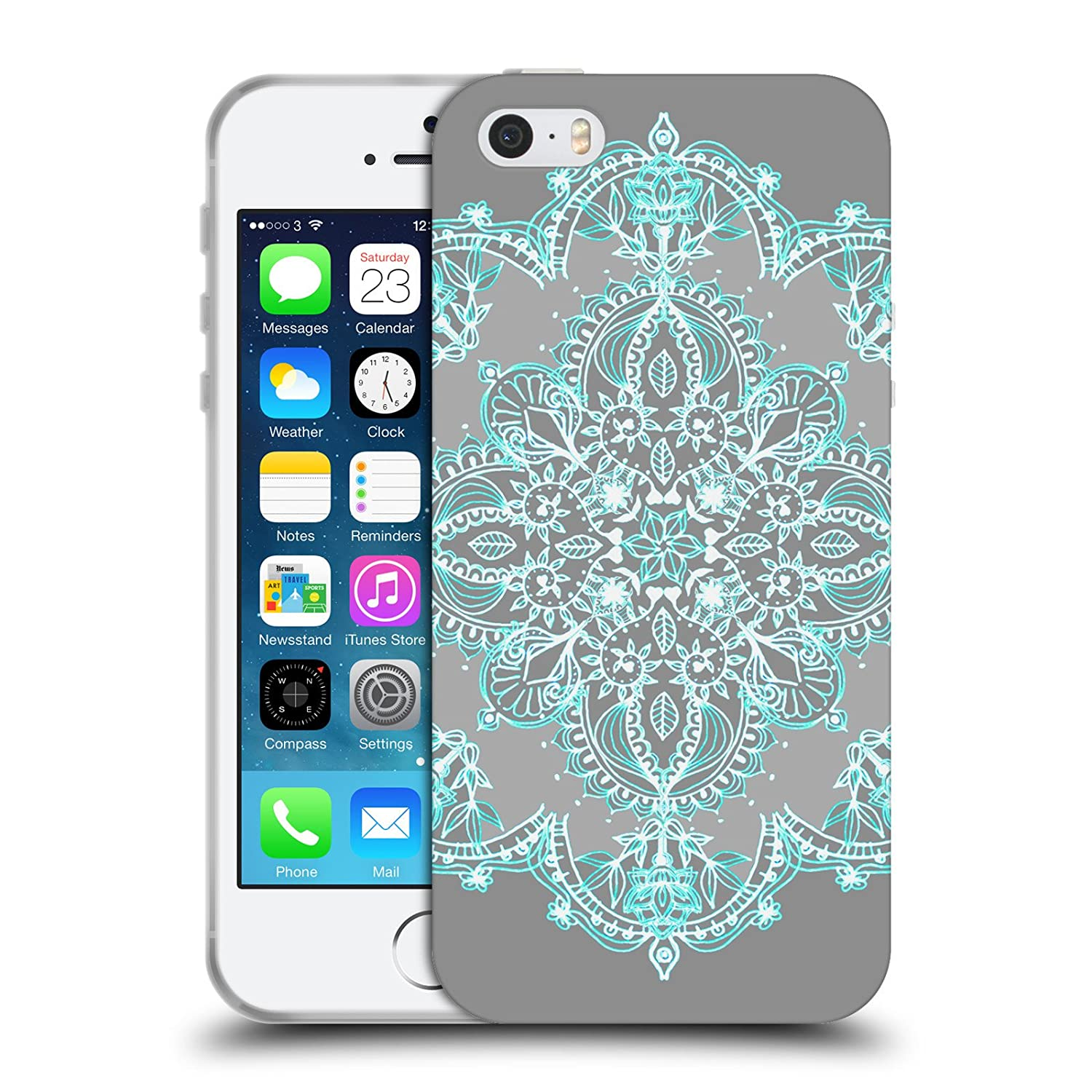 Official Micklyn Le Feuvre Teal and Aqua Lace Mandala 3 Soft Gel Case for Apple iPhone 5 / 5s / SE