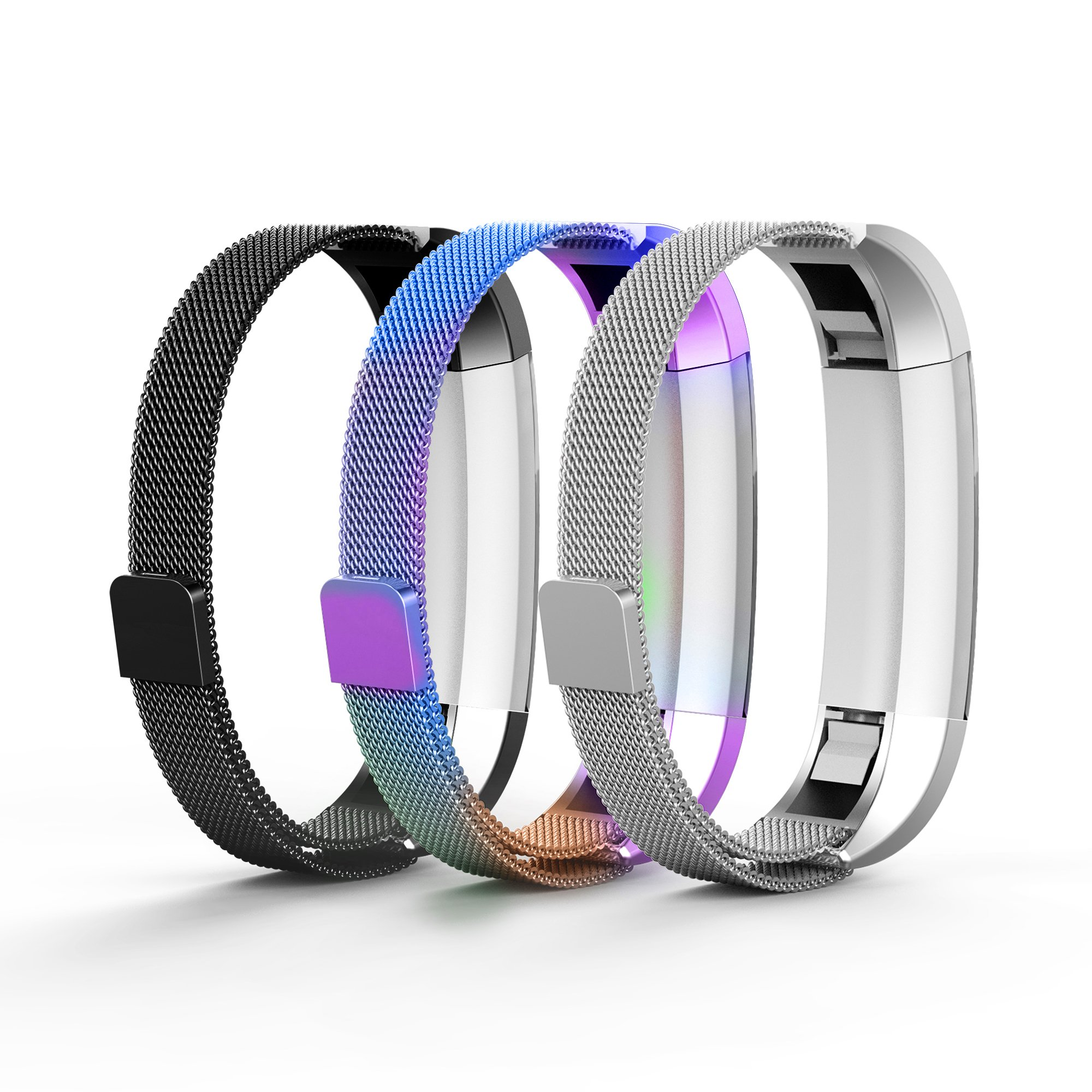 Tecson Metal Bands Compatible Fitbit Alta and Alta HR and Ace (Pack of 3), Colorful, Silver and Black