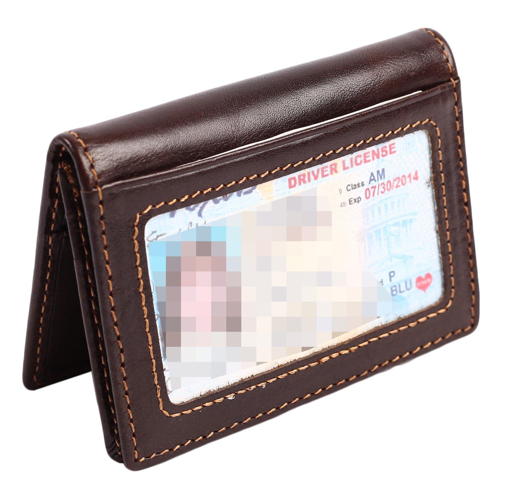 RFID Slim Wallet Men Thin Bifold Front Pocket Wallet Genuine Leather Card Holder (Coffee)