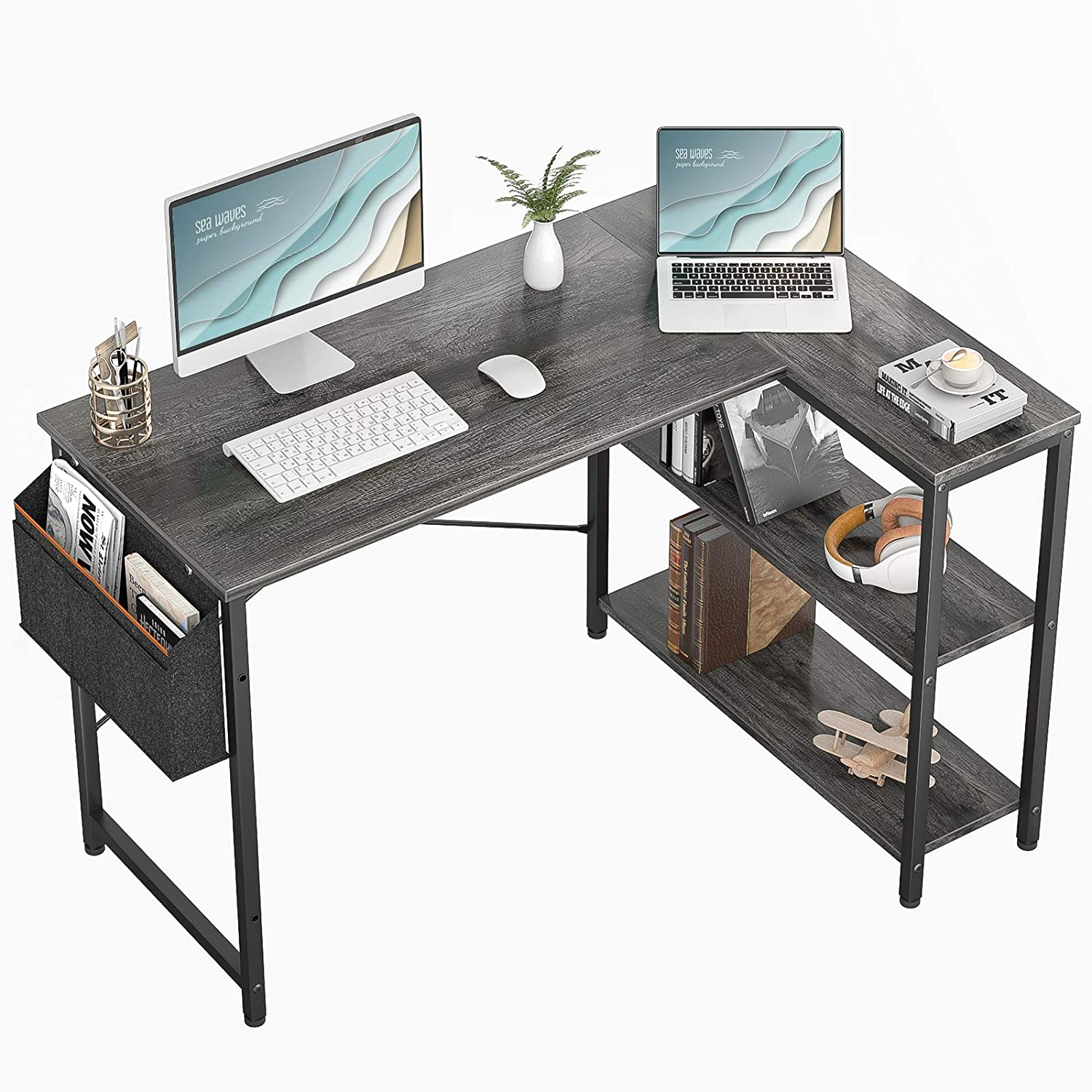 Small L Shaped Computer Desk, Besiture 47 Inch L-ShapedCornerDesk with Reversible Storage Shelves for Home Office Workstation, Modern Simple Style Writing Desk Table with Storage Bag(Black Oak)