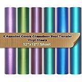 """VINYL FROG Chameleon Heat Transfer Vinyl Sheets HTV 6 Packs 12""""x12"""" Iron On Vinyl for Cameo 6 Assorted Gradient Change Color"""
