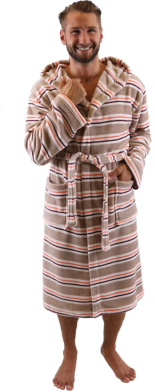 Betz Albornoz Bata VIENA con capucha de tama/ños diferentes de color marr/ón Tama/ño L//XL marr/ón