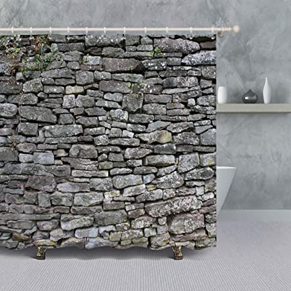 VANCAR Vintage Brick Wall Shower Curtain For Bathroom Rustic House Decor Retro Old