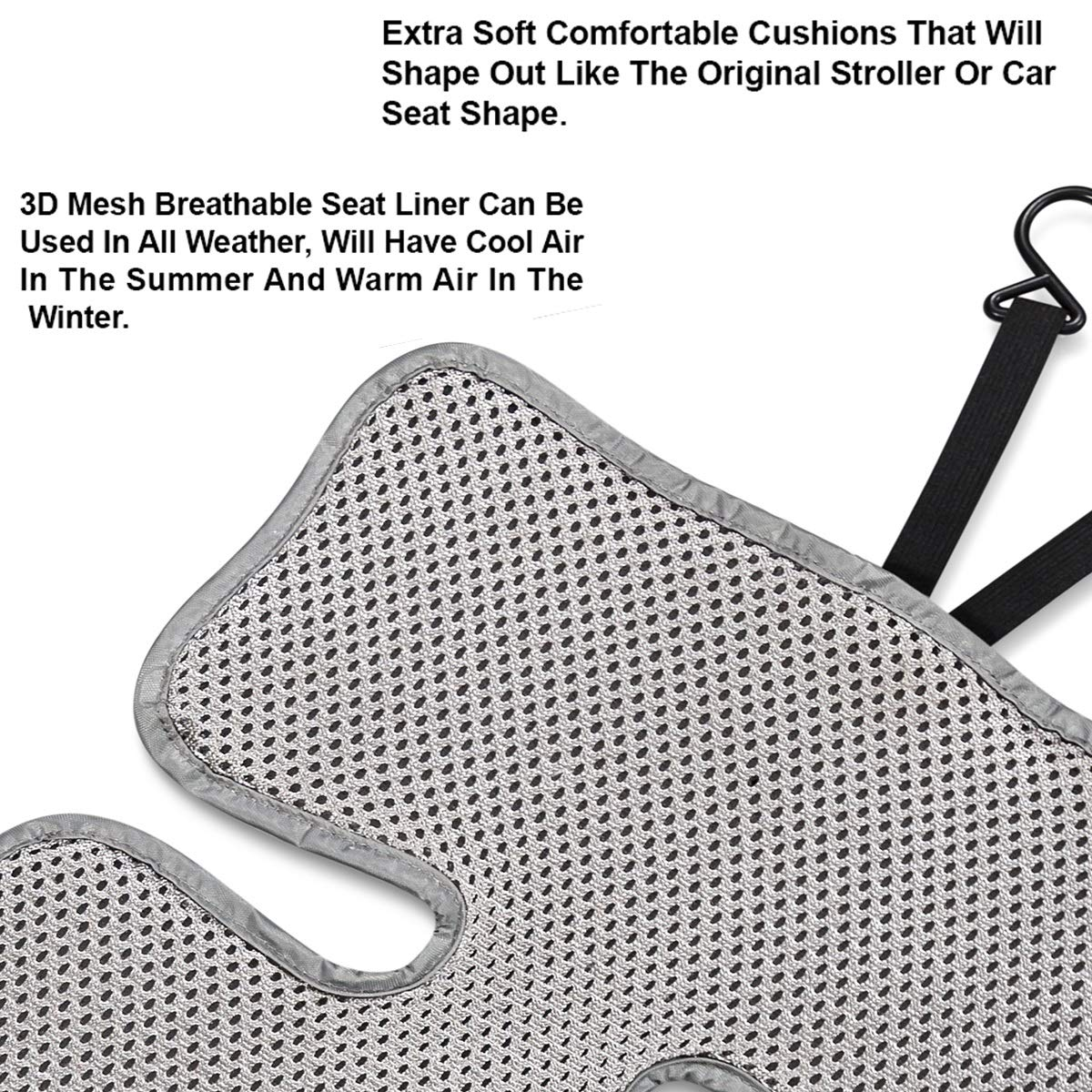 Lebogner 3D Air Mesh Cool Baby Seat Liner for Strollers, Car Seats, Jogger, Bouncer and More, Thick Cushion Seat Pad Protector, Supports Newborns, Infants, and Toddlers, Installs Quick and Easy, Grey by lebogner (Image #3)