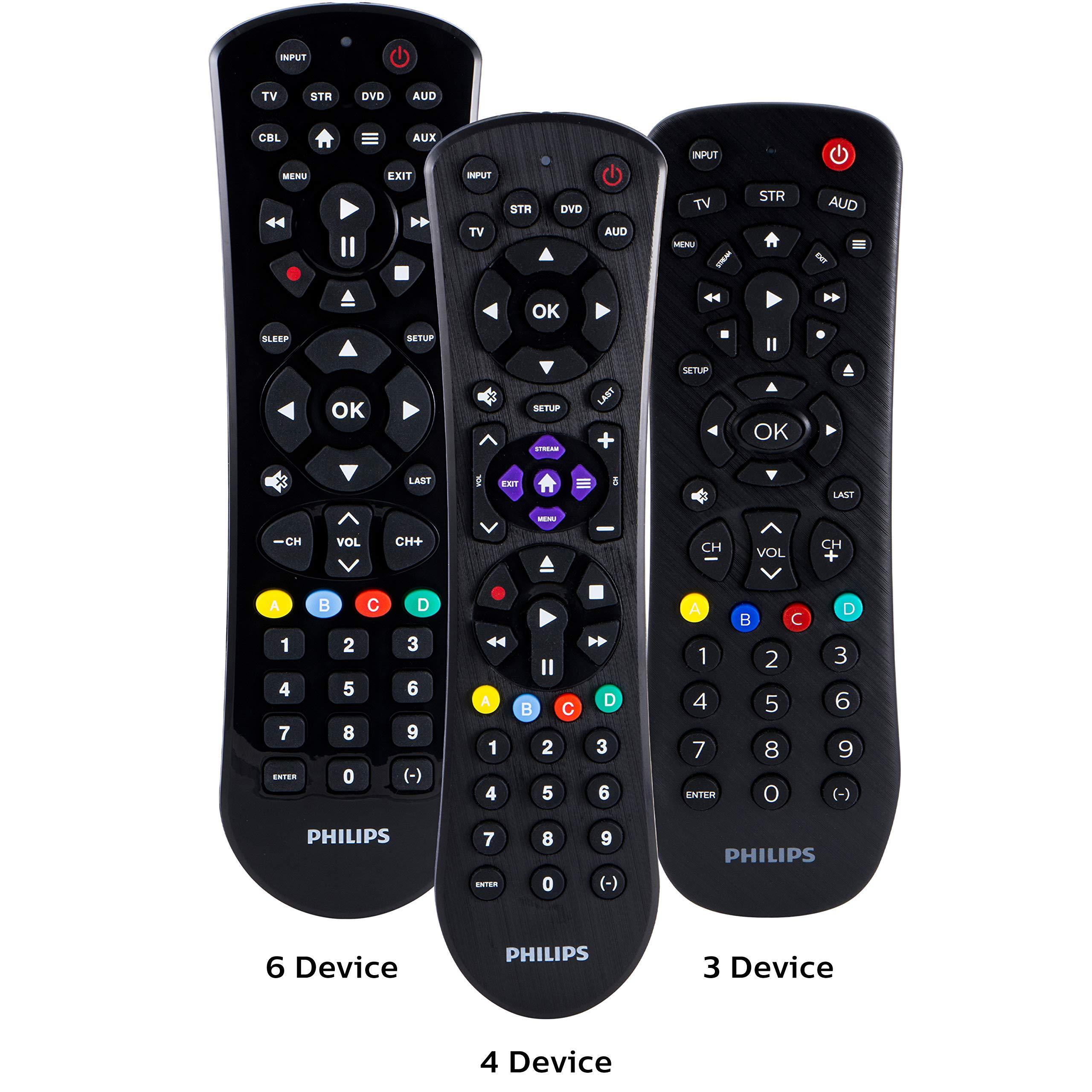 Philips Universal Remote Control for Samsung, Vizio, LG, Sony, Sharp, Roku, Apple TV, RCA, Panasonic, Smart TVs, Streaming Players, Blu-ray, DVD, Simple Setup, 4-Device, Black, SRP9243B/27 by PHILIPS