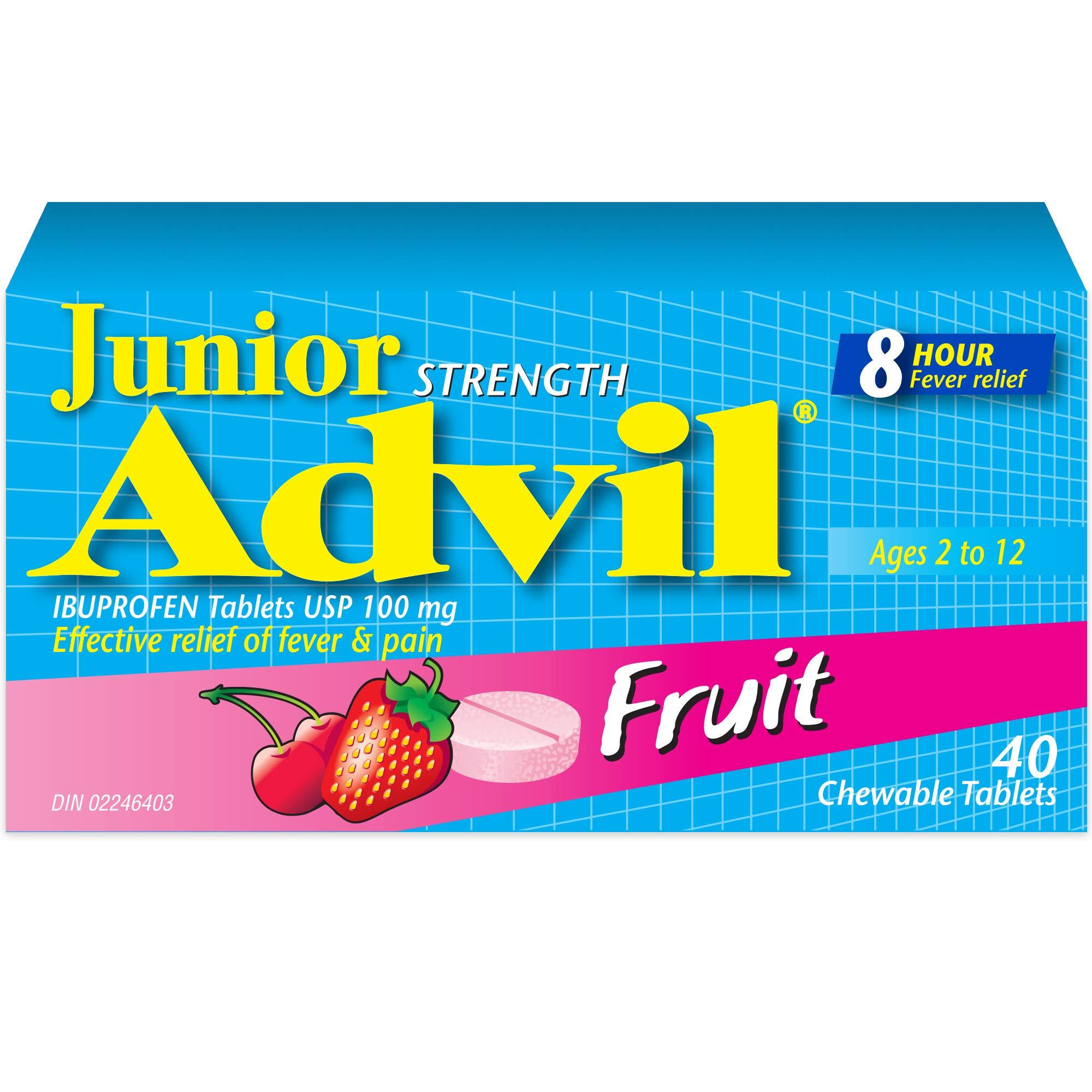 Junior Strength Advil Ibuprofen Tablets Usp 100 mg Fruit 40 Chewable Tablets by Advil