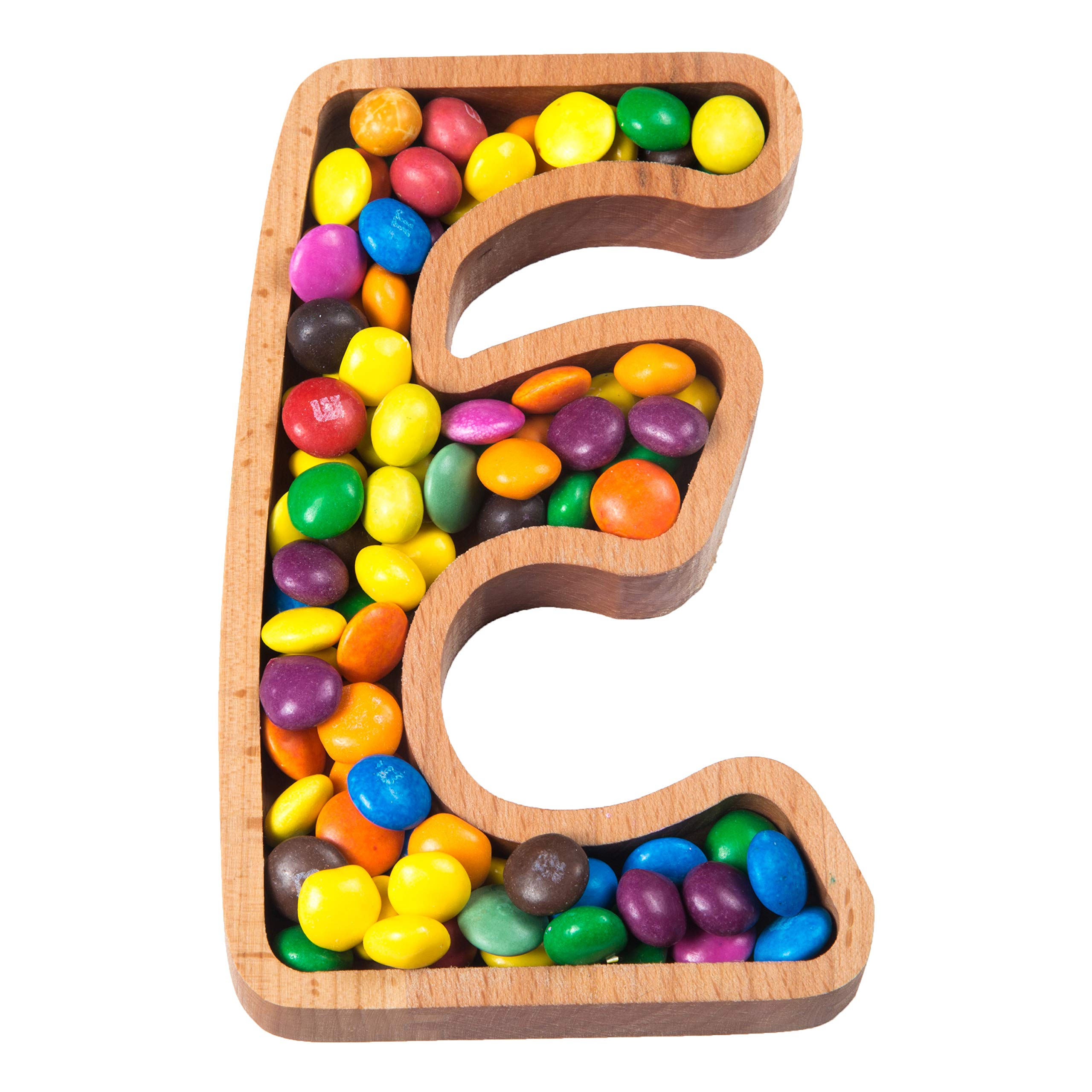 Wooden Letter E Candy Dish | Monogram Nut Bowl | Snack, Cookie, Cracker Serving Plate | Decorative Display, Home Accessory | Unique Gift Idea | for Date, Anniversary, Baby Shower, Birthday Party