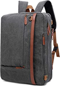 CoolBELL Convertible Backpack Shoulder bag Messenger Bag Laptop Case Business Briefcase Leisure Handbag Multi-functional Travel Rucksack Fits 15.6 Inch Laptop For Men/Women (Canvas Dark Grey)