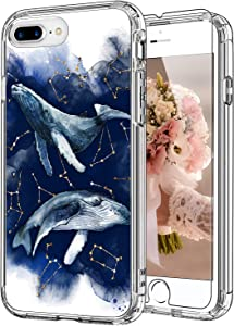 ICEDIO iPhone 8 Plus Case with Screen Protector,iPhone 7 Plus Case Floral Designs for Girls Women,Shockproof Protective Phone Case for iPhone 8 Plus/iPhone 7 Plus Blue Whales