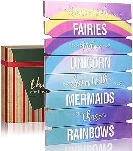 GEMTEND Unicorn Wall Decor for Girls, Rainbow Wall Hanging Sign for Teen Girls, Rainbow Unicorn Party Decorations Wooden for Kid's Bedroom, Nursery, Gift for Unicorn, Mermaid, Fairy, Rainbow Lovers