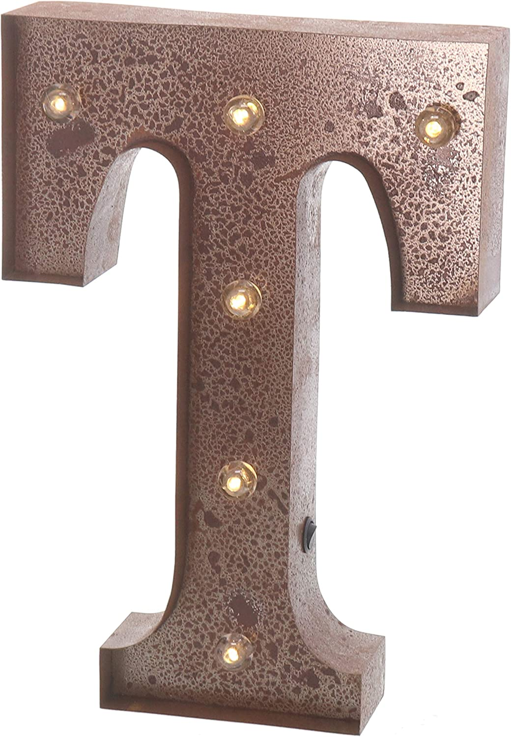 """Barnyard Designs Metal Marquee Letter T Light Up Wall Initial Wedding, Home and Bar Decoration 12"""" (Rust)"""