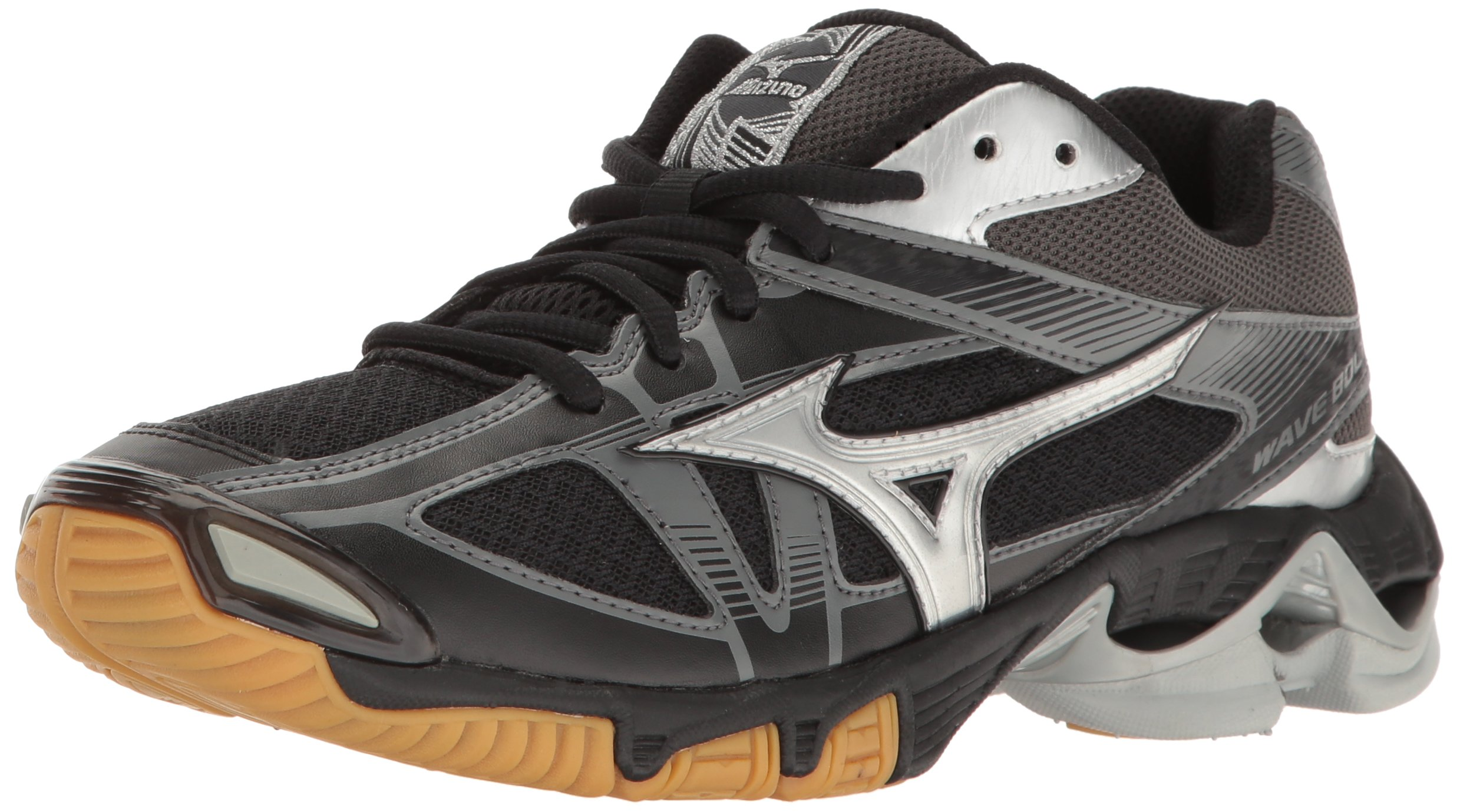 Mizuno Wave Bolt 6 Womens Volleyball Shoes, Black/Silver 9 B US