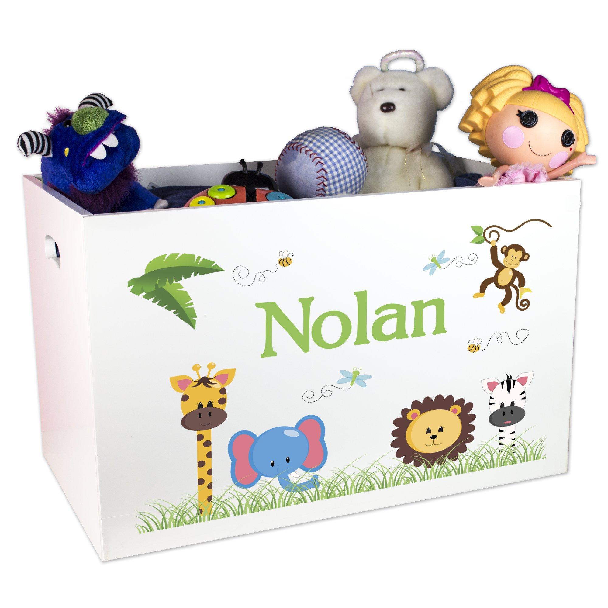 MyBambino Boy's Personalized Jungle Animal Toy Box by MyBambino