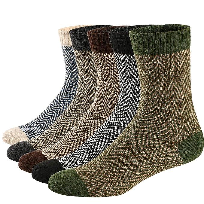 Ueither 5 Pares de Calcetines de Lana Tejida Gruesa Cálida y Suave para Invierno y Otoño de Estilo Antiguo para Hombres: Amazon.es: Ropa y accesorios