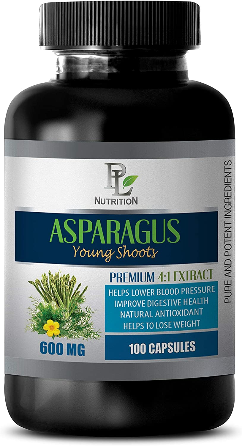 Diuretic and Anti-inflammatory - Asparagus Young Shoots Extract 600MG - Premium 4:1 Extract - Asparagus Vitamins - 1 Bottle 100 Capsules