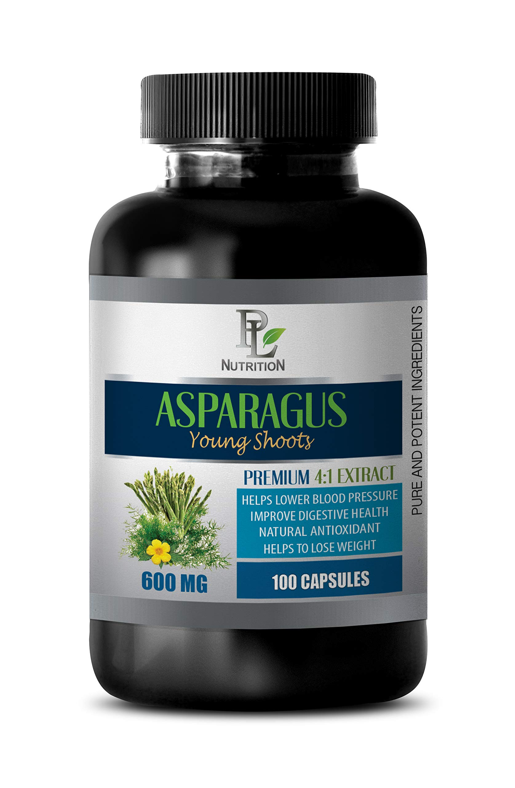 Blood Pressure lowering Supplement - Asparagus Young Shoots Extract 600MG - Premium 4:1 Extract - Asparagus Root Capsules - 1 Bottle 100 Capsules