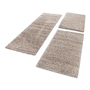 Schön Shaggy Hochflor Teppich Carpet 3TLG Bettumrandung Läufer Set Schlafzimmer  Flur, Farbe:Beige, Bettset