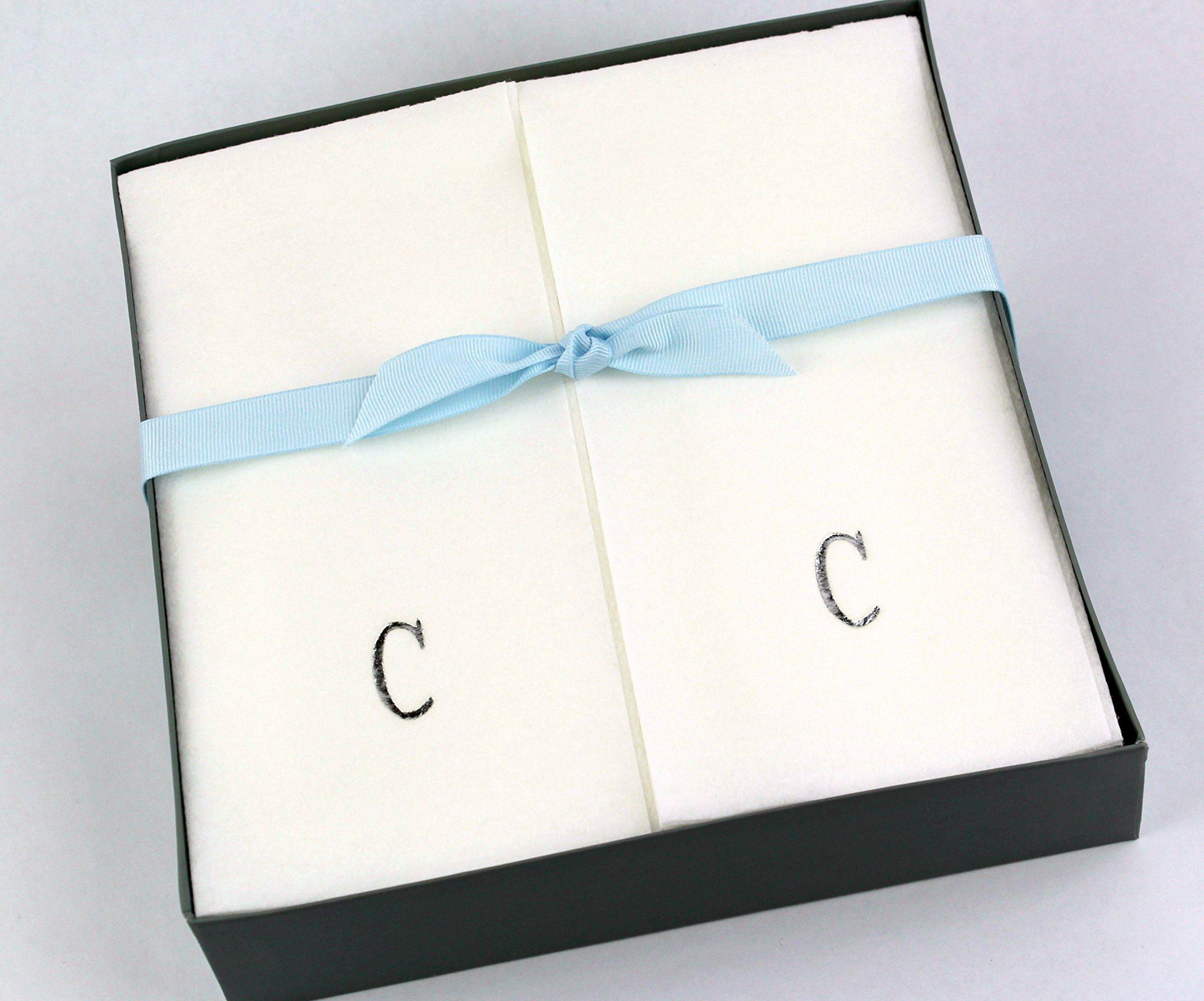 Disposable Nature's Linen Guest Hand Towels Gift Boxed - Personalized with a Silver Single Block Initial - C - 36ct.