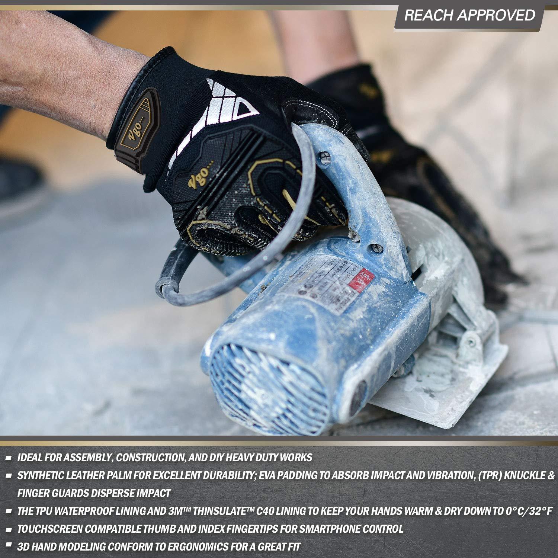 Reducci/ón de Impacto y Vibraci/ón Vgo 2Pares 0/° C Forrodo de Thinsulate de 3M Guantes de Invierno Resistentes al Agua de Alta Destreza Talla 10//XL, Negro, SL8849FW