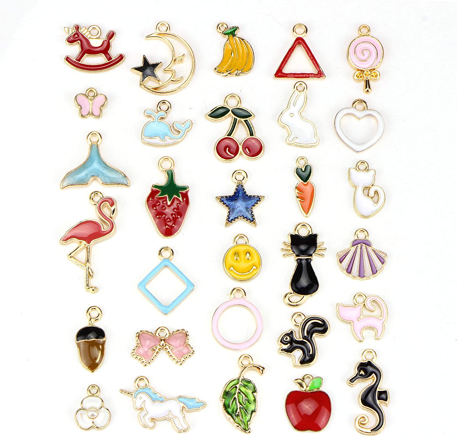 Youkwer 30pcs Mixed Colorful Charms Pendants for Jewelry Making, DIY Craft Charms Bulk for Necklace Bracelet Jewelry Making Crafting(30 Colorful Charms A2)