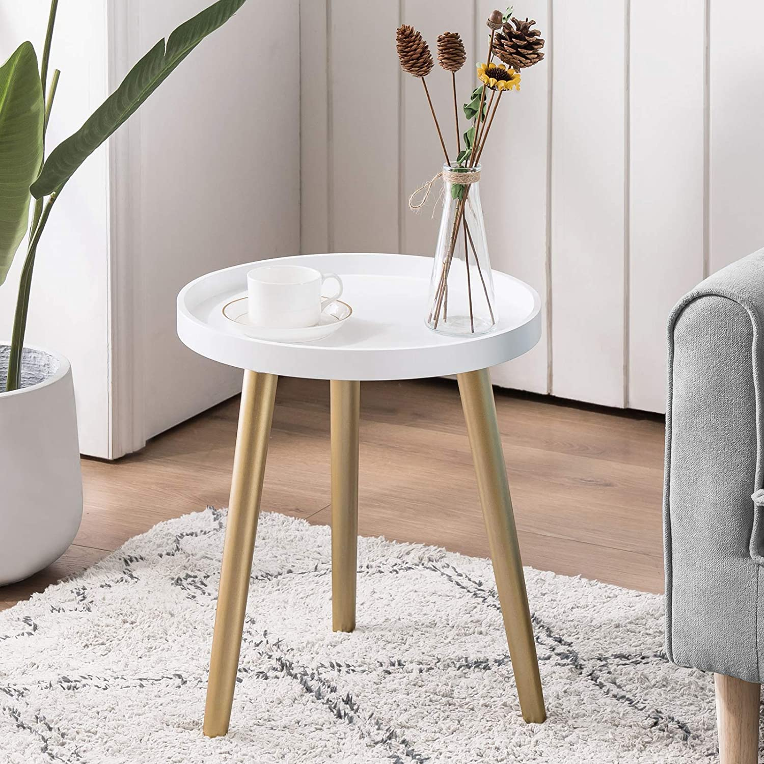 APICIZON Round Side Table, White Tray Nightstand Sofa Coffee End Table for Living Room, Bedroom, Small Spaces, Easy Assembly Decro Bedside Table, 15 x 18 Inches(White, Gold)