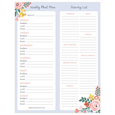 bloom daily planners Weekly Magnetic Meal and Grocery Planning Pad Perforated Tear Off to Do Pad with Magnets - 8.5  x 11
