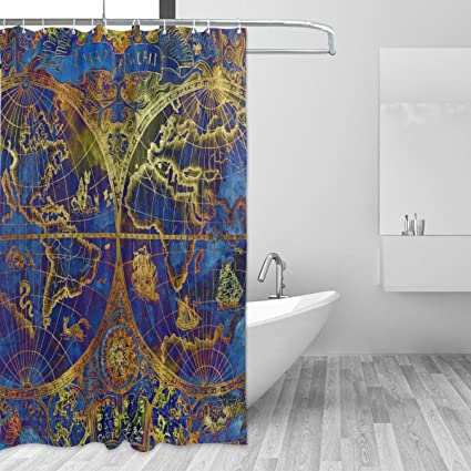 Shower Curtain Custom Fabric Set 72x72 Inch Vintage World Atlas Map Waterproof Polyester For Bathroom