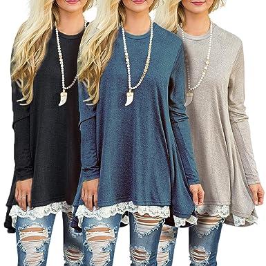 58527b85127ed1 Amazon.com  Sanifer 3 Pack Women s Lace Long Tunic Tops Plus Size Long  Sleeve T Shirts Blouses  Clothing