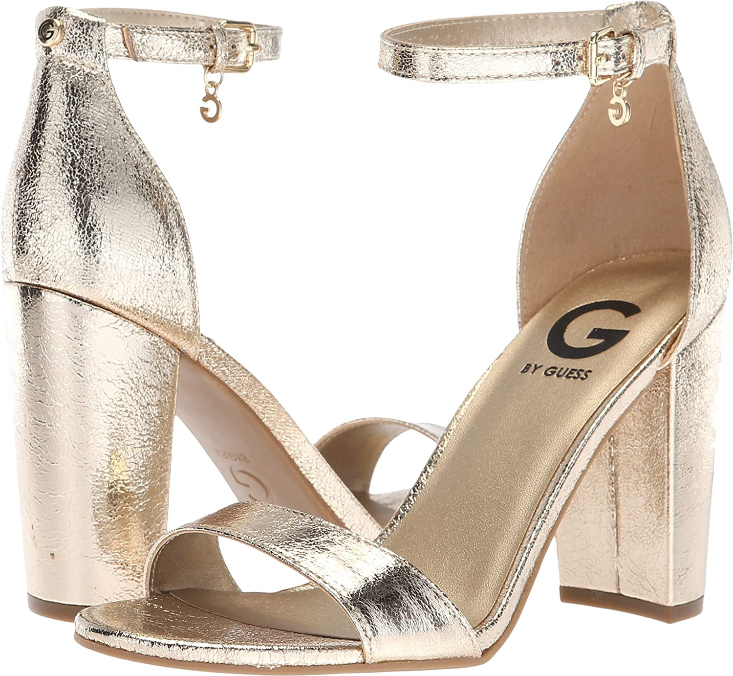 168278be754 G by GUESS Womens Shantel 3 Faux Leather Dress Sandals Gold 10 Medium (B,M)