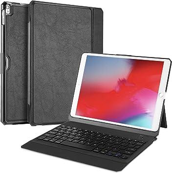 ProCase Funda con Teclado Inglés para iPad Air 10.5 2019/iPad Pro 10.5 2017, Carcasa con Soporte Rotativo/Teclado Americano Inalámbrico Desmontable ...