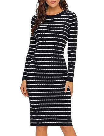 f0ba78d7579 Lookbook Store Women s Casual Crew Neck Knit Sweater Stripe Bodycon Pencil Dress  Black Size S