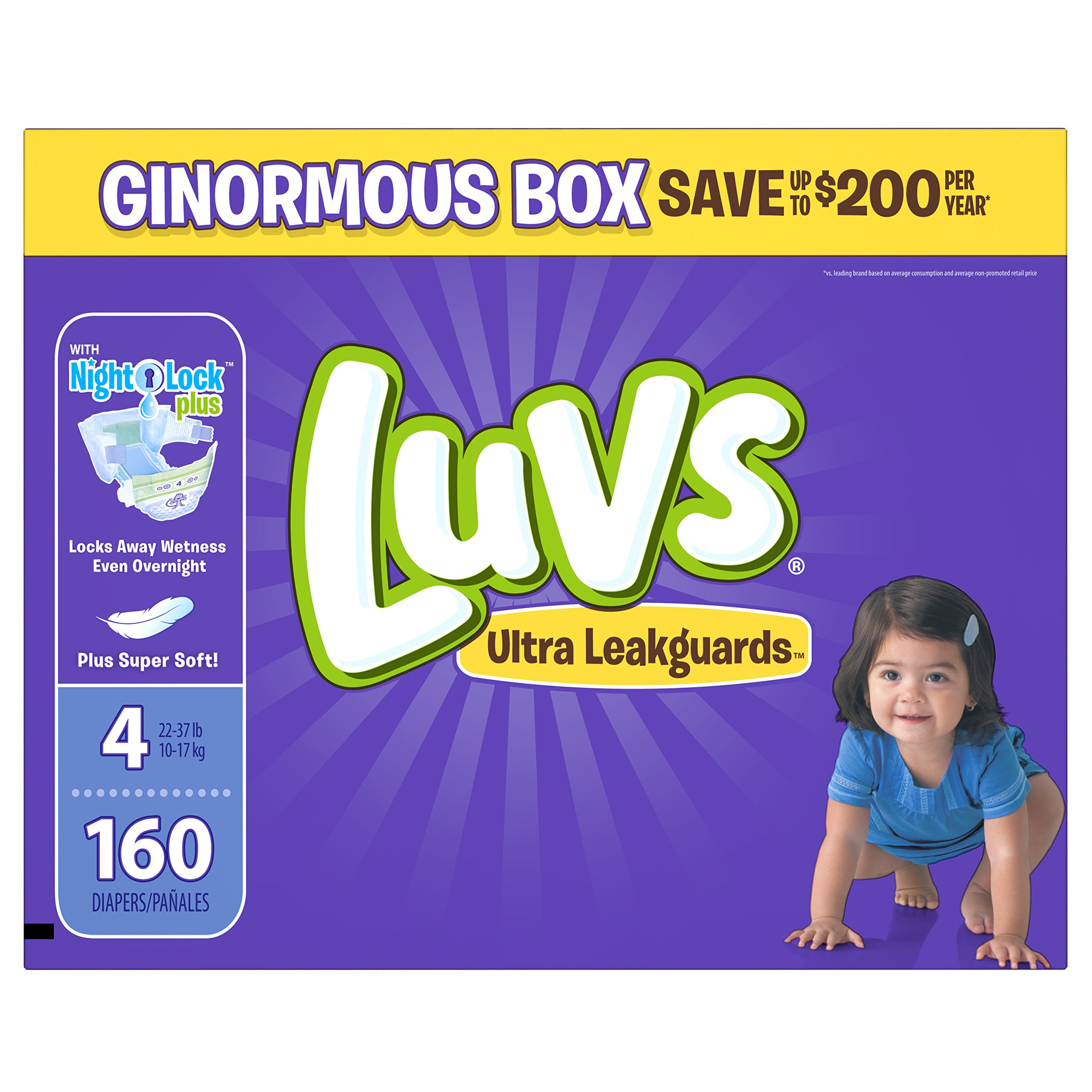Diapers Size 4, 160 Count – Luvs Ultra Leakguards Disposable Baby Diapers, ONE MONTH SUPPLY (Packaging May Vary)