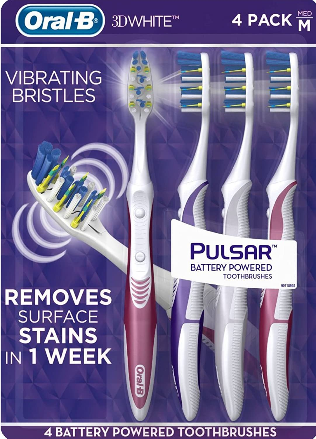 1 x  Oral B 3D White Luxe Battery-Operated Vibrating Toothbrush Battery Included