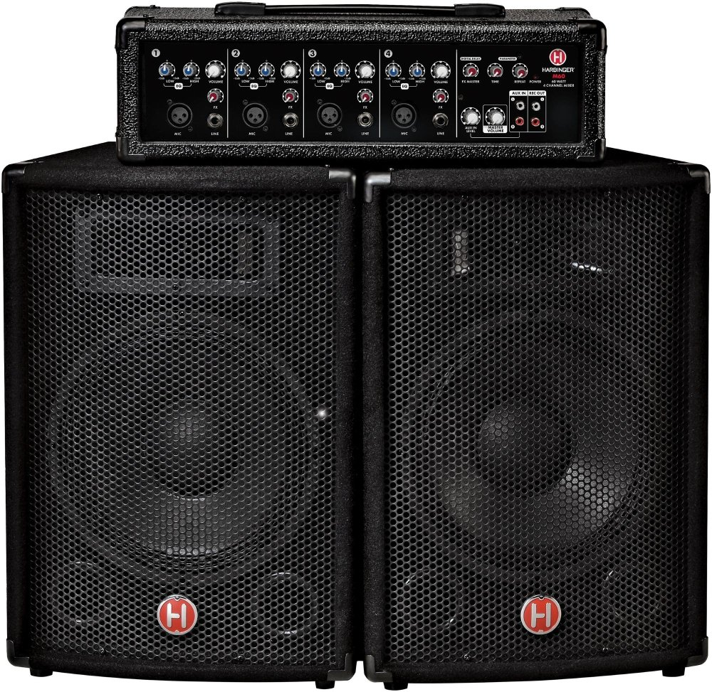Harbinger M60 60-Watt, 4-Channel Compact Portable PA with 10 in  Speakers