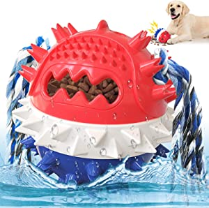 Dog Squeaky Toy, Tough Durable Dog Chew Toy for Large Breed Aggressive Chewers Medium Dogs, Bouncing Floating Dog Toy Balls for Teething with Food Dispenser, Red Blue