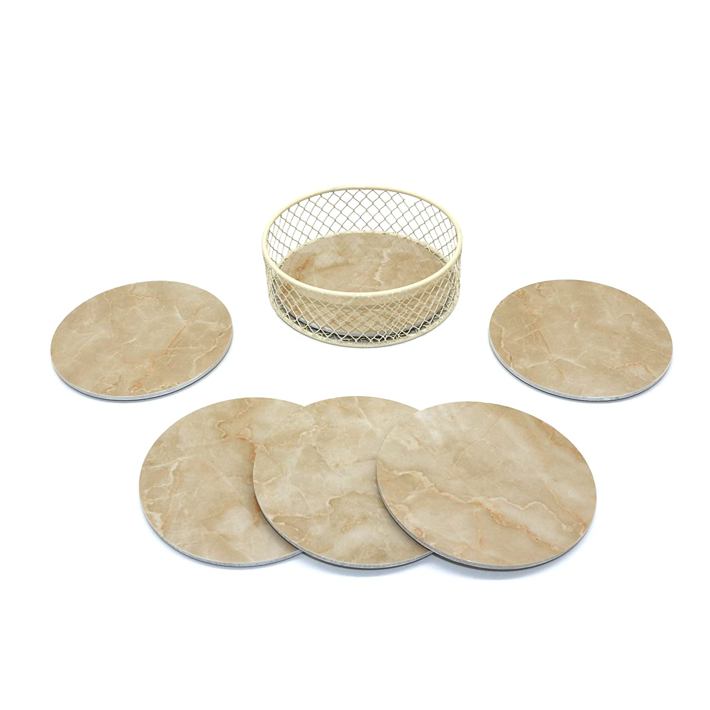CVHOMEDECO. Runde Marmor Muster Coaster Set mit Drahtkorb Halter ...