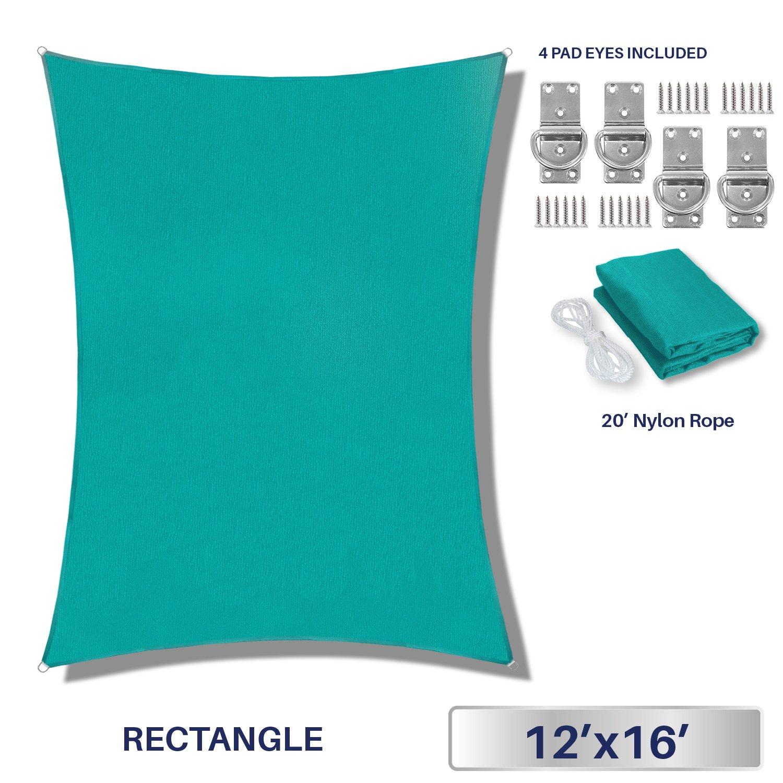 Windscreen4less Sun Shade Sail Outdoor Patio Backyard UV Block Awning Steel D-Rings 12ft x 16ft Turquoise Light Green Rectangle - Custom