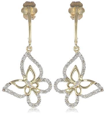 Amazon 10K Yellow Gold Diamond Butterfly Earrings 1 10 cttw