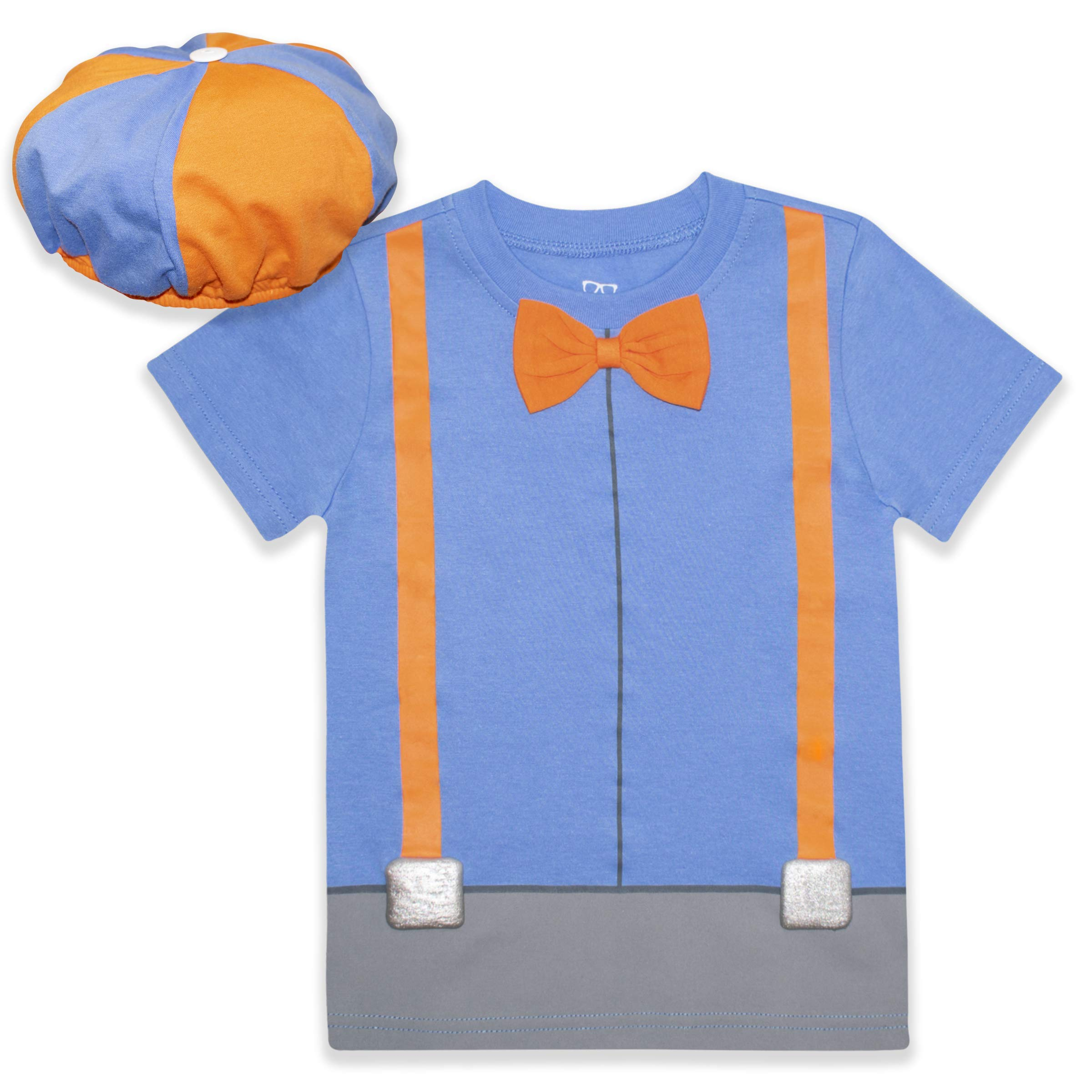 Blippi Roleplay Shirt and Hat Roleplay Set with Printed Bow Tie and Suspenders