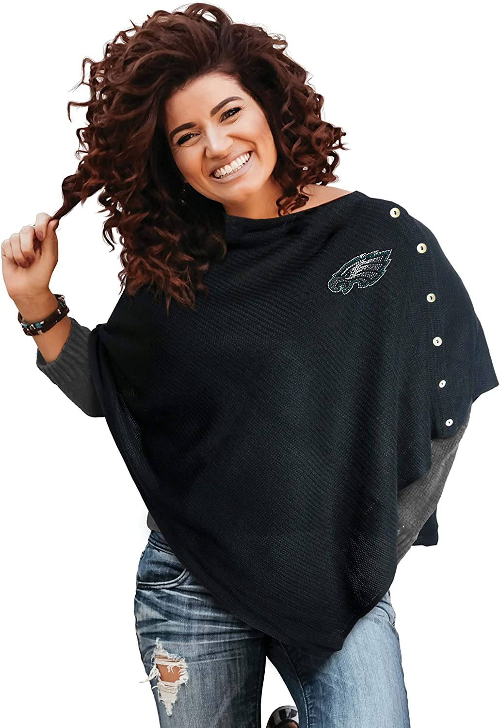 Littlearth NFL Womens Black Out Button Poncho