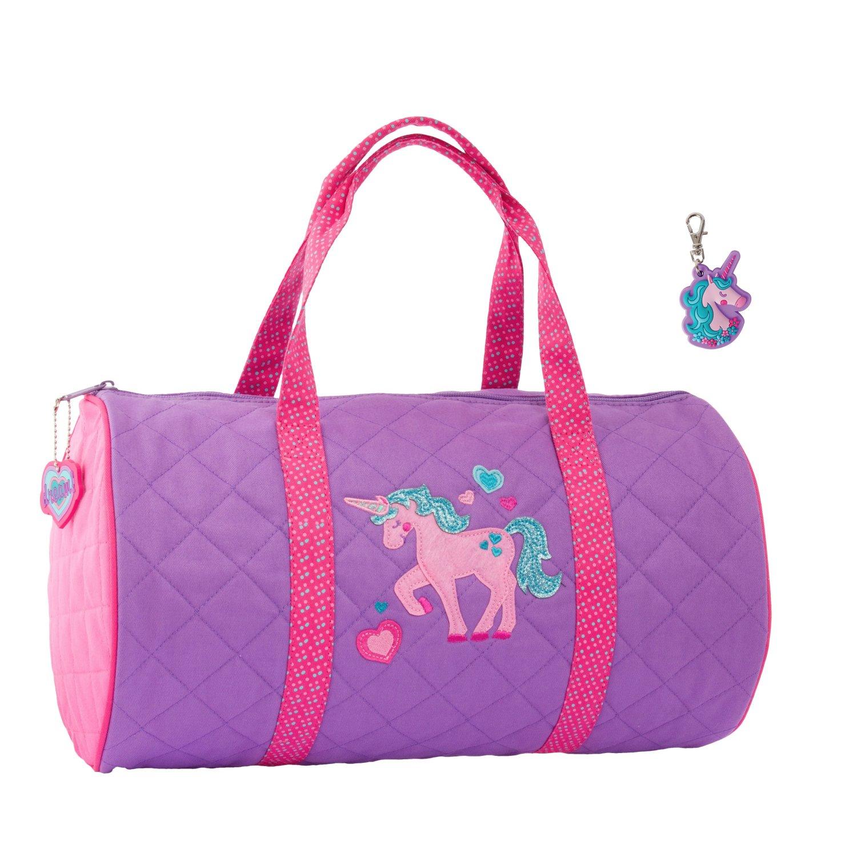 Stephen Joseph Girls Quilted Unicorn Duffle Bag with Zipper Pull