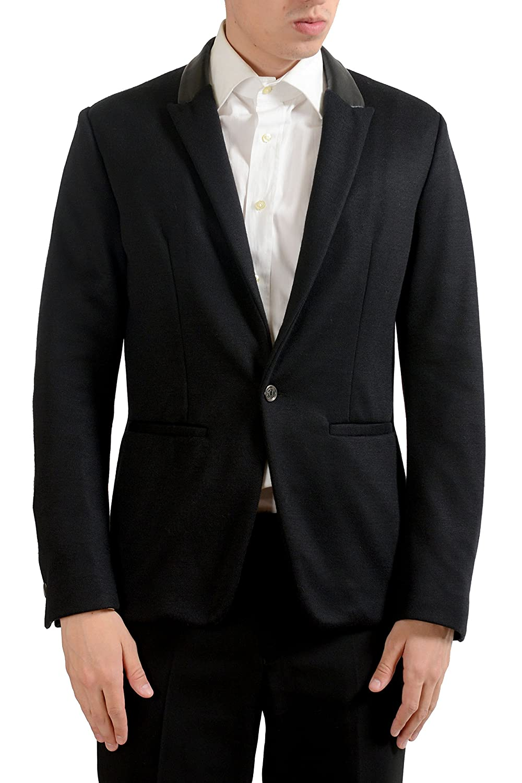 Just Cavalli Mens Black One Button Blazer Sport Coat US 38 IT 48