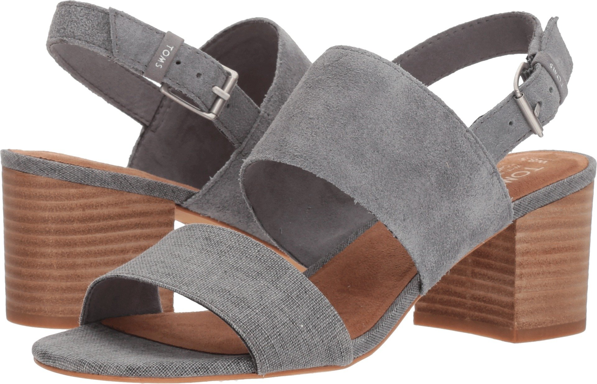TOMS Women's Poppy Suede Sandal, Size: 11 B(M) US, Color: Shade Suede/Linen