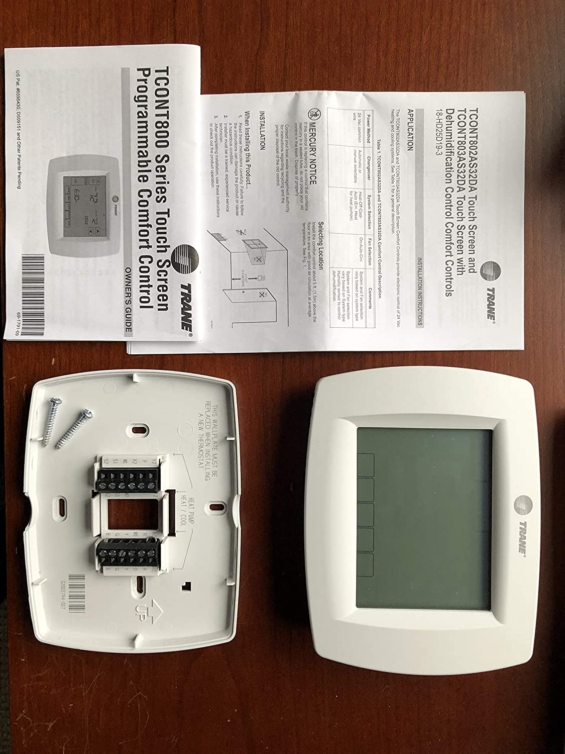 Trane Multi Stage Thermostat 7 Day Programmable Touchscreen 8600 Wiring Diagram Tcont802as32daa Th8320u1040 Tht02478