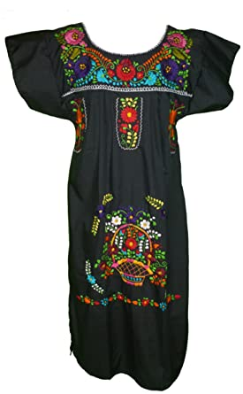 a0d4cfb41c70e9 Women's Mexican Embroidered Dress by Campesina Brand - Black at ...